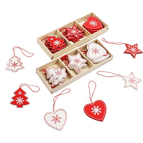 BELLE VOUS Christbaumschmuck aus Holz (24 STK) - 6 Motive x 4 STK Baumschmuck Weiß Rot Herz, Baum, Stern Weihnachts Anhänger mit Box – Geschenke, Weihnachtsschmuck, Christbaumanhänger, Weihnachtsdeko