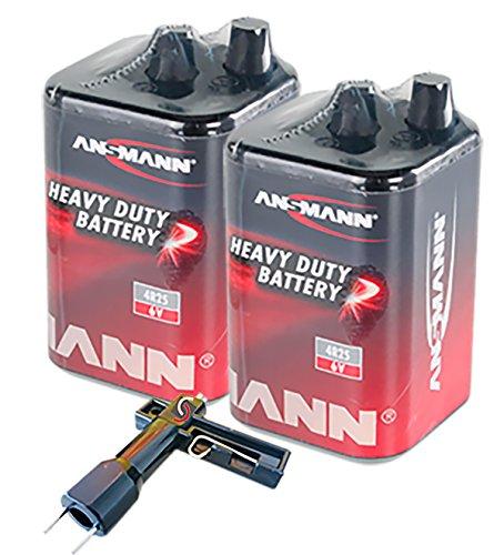 UvV-Shop (ES-Team Consult GmbH) Lampenschlüssel + Blockbatterie, Laternenbatterie Typ 4R25 (Set mit 2 Stück) 7-9 AH, 6 Volt für Warnleuchten, Baustellenlaternen, Baustellenlampen