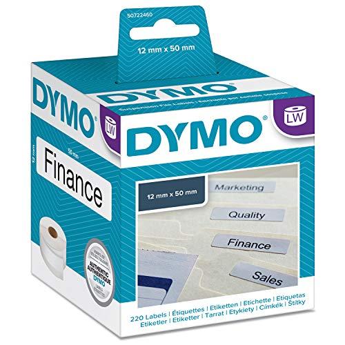 DYMO LW    Etiquetas auténticas para carpetas colgantes, 12mm×50mm, rollo de 220etiquetas con reverso fácil de retirar, autoadhesivas, para rotuladoras LabelWriter