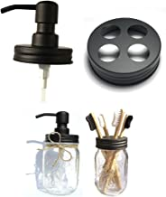 The Southern Jarring Co. Bathroom Accessories Lid Set - Jars NOT Included - Mason Jar Hand Soap Dispenser and Toothbrush Holder Lids - Modern Farmhouse Bathroom Decor (Black Stainless Steel)