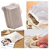 FomCcu 10Pcs filtres à thé Sacs réutilisables de cordon de mousseline de coton pour le...