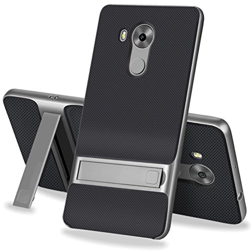MOONCASE Huawei Mate 8 Hülle, Hybrid Kratzfeste stoßdämpfende TPU +PC Bumper Frame Dual Layer Tasche Schutzhülle mit Ständer für Huawei Mate 8 (Schwarz Grau)