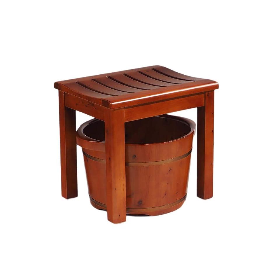 不適切なモンスターサークルNUBAOgy 足浴槽、スギ成人スツールセット足浴バレル手作り肥厚高さ足浴バレル、あずき色、2サイズ (サイズ さいず : S s)