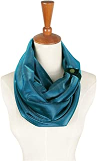 NJTSXLM Hooded Scarf Neck Warmer Cowl Scarf,Men Women Shiny Metal Scarf Party Accessories Soft Tube Infinity Loop Double Scarf (Color : Blue)