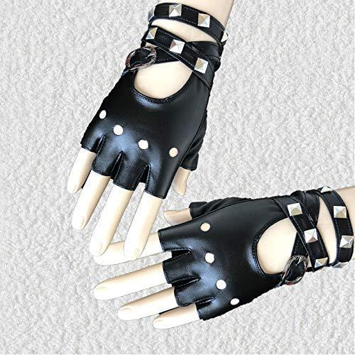 zreal 1par de guantes Half Finger PU piel Rock Punk Style remachadora sin dedos Guantes de moto, negro (Varios)