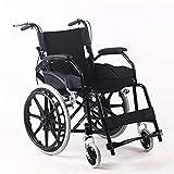 Sillas de ruedas autopropulsadas De peso ligero de aluminio plegable Autopropulsada asiento de la silla Anchura 18 pulgadas - posterior almacenamiento bolsa - Ruedas de goma maciza (Color : Black)