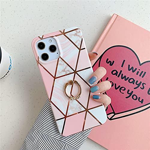 Funda para teléfono de mármol con Soporte de Anillo para iPhone 12 11 Pro MAX XR X XS MAX 7 8 Plus Funda de Silicona Suave geométrica galvanizada, B5, para iPhone XR