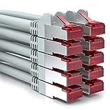 deleyCON 10x 1m Cavo Patch CAT6 PIMF S/FTP Schermatura CAT-6 RJ45 Cavo di Rete Cavo Ethernet LAN DSL Interruttore Router Modem Punto di Accesso - Grigio