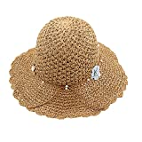 Sombrero Mujer de Paja, Pamela Plegable para el Verano, Gorro de ala Ancha de protección Solar para la Playa (Marrón, 57cm)