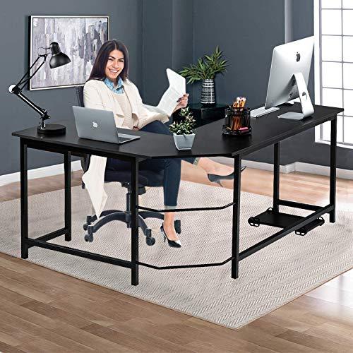 Computer Desk Gaming Desk Office Large Work Space L Shaped Desk PC Wood Home...