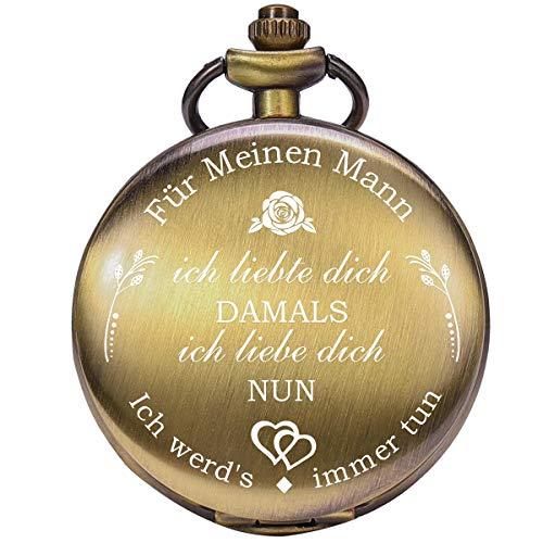 ManChDa Taschenuhr für Ehemann, Taschenuhren mit Kette für Herren, Geschenk zum Jahrestag, Valentinstag, schönes Geschenk für Familie (1.2 Bronze)