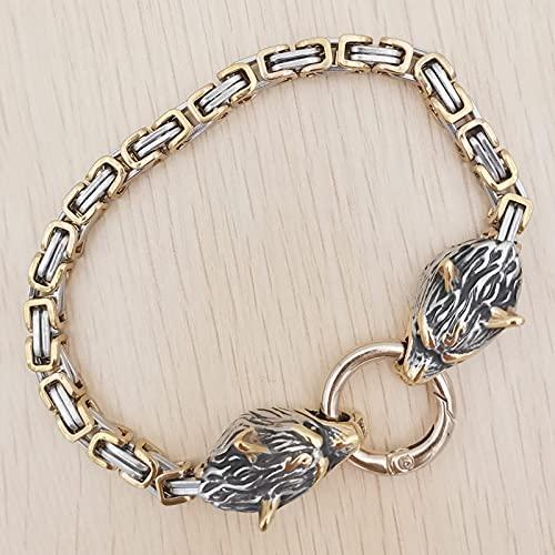 XIABME Norse Mythology Foxtail with Wolf's Head Design Men's Biker Bracelet,Fishhook Vintage Viking Pagan Wolf Head Metal Cuff Bangle Wristband Bracelet Jewelry (Color : Gold, Size : 21cm)