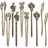10 Piezas de Palos de Pelo de Mujeres Chinos Pasador de Pelo Palillos de Pelo Vintaje Decorativos de Bronce Antiguo para Accesorios de DIY Pelo, 5 Estilos