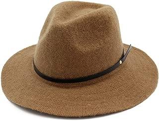 Fascinator Hat Winter Trilby Hat Wool Women Fedora Hat Wide Brim Hat (Color : Coffee, Size : 56-58)