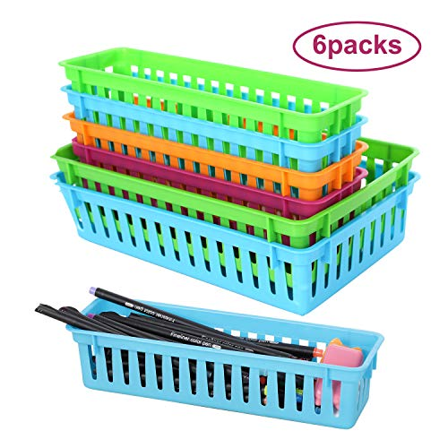 6 Pcs Rectangular Pencil Basket- Bright Color Plastic mesh Bins Two Size Classroom Container Durable Plastic Mesh Baskets for Office Drawers Shelves Desktop