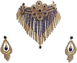 Shree Mauli Creation Dark Blue Alloy Stone Necklace Set for Women
