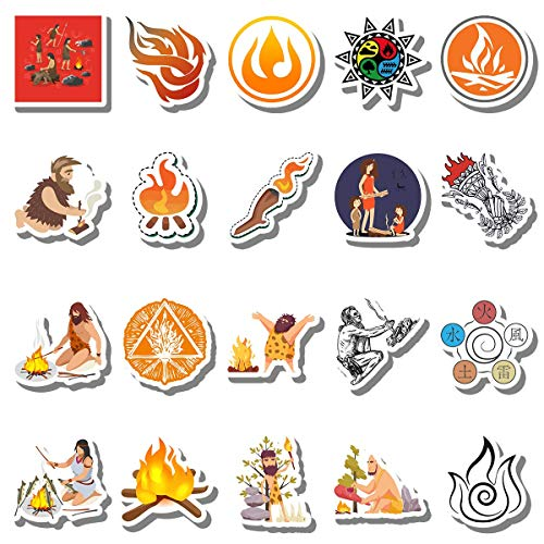 20 Pcs Stickers Pack Ancient Aesthetic Fire Vinyl Symbol Colorful Waterproof for Water Bottle Laptop Bumper Car Bike Luggage Guitar Skateboard