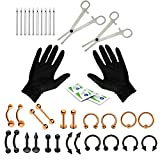BodyJ4You 36PC PRO Piercing Kit Rose Goldtone Black 14G 16G Belly Ring Tongue Tragus Nipple Lip