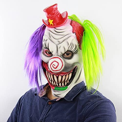 YHSW Mscara de Halloween,Mscara de Payaso Joker Adultos Horror Payaso Asesino Ltex Diablo Disfraz de Navidad Accesorios de Fiesta Disfraces Accesorios para la Cabeza