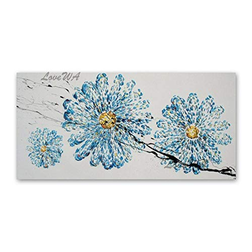 ZNYB Cuadro Lienzo Dormitorio Hermosa Paleta de Flores Azules Pintura al óleo 3D Gruesos tapices de Pared acrílicos Lienzo Arting Home Showpiece