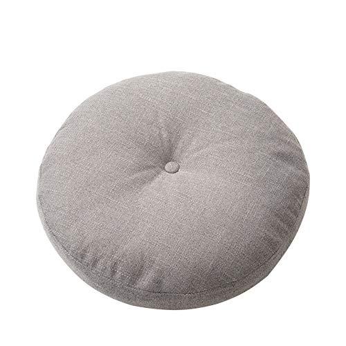 Cuscino rotondo per sedia Tatami, in tessuto di lino, ergonomico, lavabile, per sedia a rotelle, auto, sedia da ufficio, grigio, 70(28inch)