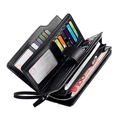 Rfid wallets for women Leather clutch Wristlet ladies zipper trifold checkbook organizer