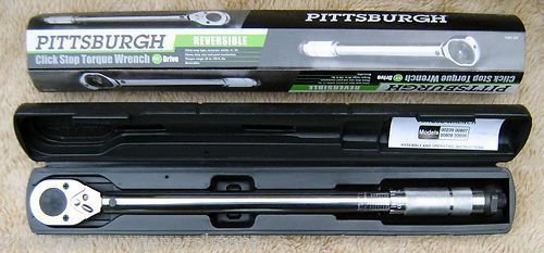 """NEW PITTSBURGH PRO 1/2"""" DRIVE CLICK TYPE TORQUE WRENCH WITH HARD CASE"""