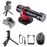 K&F Concept CM600 Micrófono para Cámaras, Micrófono Condensador con Soporte, Trípode de Mesa, Micrófono para Móvil Cámara