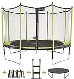 Kangui - Trampoline de Jardin 426 cm + Filet de sécurité + échelle + bâche de Protection + Kit ancrage JUMPI Vert/Noir 430