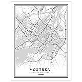 Leinwanddrucke,Kreative Schwarz Und Weiß Montreal Stadt