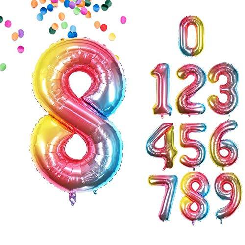 VCOSTORE 40 Zoll Zahlen Luftballon für Geburtstage, Regenbogen bunte große Größe Folie Helium Luftballons Party Dekorationen