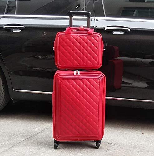 KQATCJ Ligero 20'24' Pulgadas Mujer Cabina Carro de Cuero Maleta 16'Spinner Mano Equipaje en Ruedas para Salir por Negocios (Color : Black2, Luggage Size : 16')