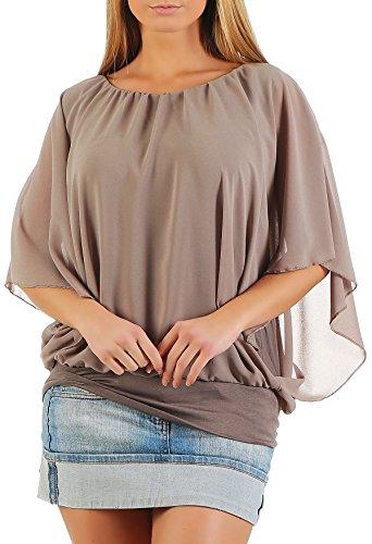 Damen Bluse im Fledermaus Look | Tunika mit Rundhals und breitem Bund | Blusenshirt Kurzarm | Elegant - Shirt 6296 (Fango)