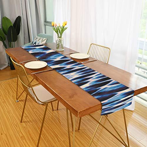 Camino de mesa Casa de campo Azul Blanco Negro Textura de piel de serpiente Mesa de comedor Camino de Pascua Mesa de mesa para cocina de oficina Comedor Fiesta de boda Decoracion de mesa de cafe para