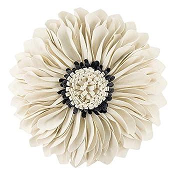 JWH 3D Flower Throw Pillow Cover Handmade Pillow Case Sunflower Decorative Cushion Pillowcase Round Pillow Filler Home Sofa Bed Living Room Guest Room Decor Girl Gift 12 Inch White Gray