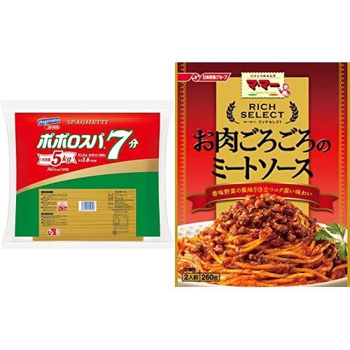 【セット販売】【Amazon.co.jp限定】はごろも ポポロスパ7分 5kg 1.6mm + マ・マー リッチセレクト お肉ごろごろのミートソース 260g×6個