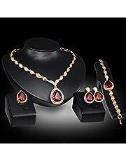 Conjunto de joyas de dama, par de aretes/anillo/collar/pulsera, aretes de bisutería de mujer con aretes de pedrería