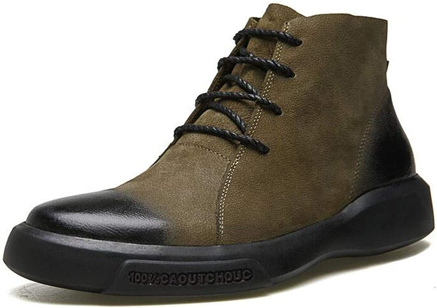 ZFAFN Men's Martin Boots Flat Boots Casual Lace-up Derby Boots Short-Shank Boots (without fluff inside), Khaki