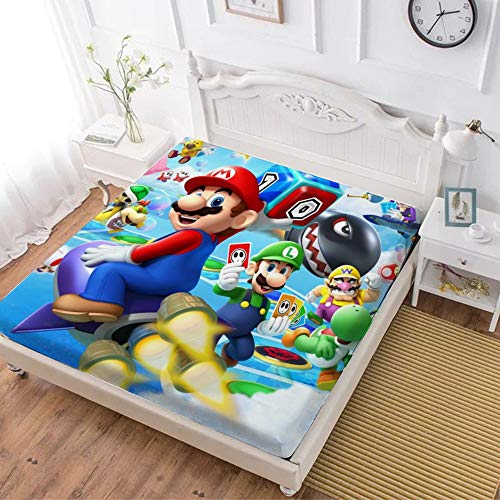 Fitted Sheet,Mario Luigi Princesse Peach Yoshi Bowser (3),Soft Wrinkle Resistant Microfiber Bedding Set,with All-Round Elastic Deep Pocket, Bed Cover for Kids & Adults,full (59x80 inch)