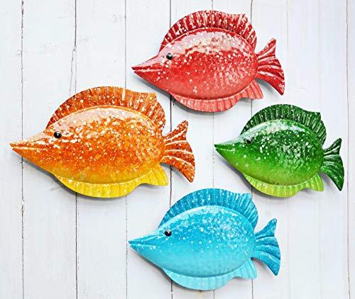 ShabbyDecor Coastal Ocean Sea Metal Fish Hanging Wall Art Decor Set of 4 for Outdoor or Indoor