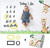 Manta Mensual De Hito Para Bebé, Unisex | Manta Mensual De Bebé Para Fotos |...