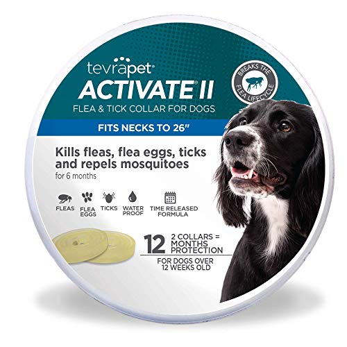 TevraPet Activate II Flea and Tick Collar for Dogs, 12 Months of Flea and Tick Protection, Repels Mosquitos