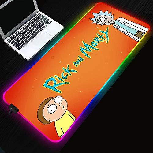Rick y Morty alfombrilla de ratón luminosa RGB gaming anime alfombrilla de ratón grande LED XXL alfombrilla de ratón teclado de computadora tapete de mesa-Rick_and_Morty_400x900x4mm