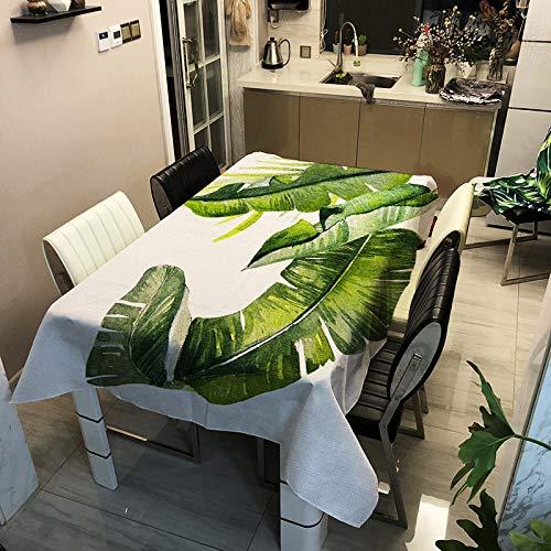 Mantel Impermeable De Poliéster De País Americano, Mantel De Mesa con Estampado De Plantas Verdes, Paño De Cubierta Multifuncional Rectangular Adecuado para Restaurantes Y Cafés