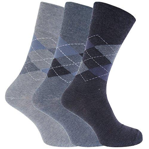 Textiles Universels Chaussettes non élastiques (3 paires) - Homme (46-50 EUR) (Bleu/Bleu marine/Losanges)