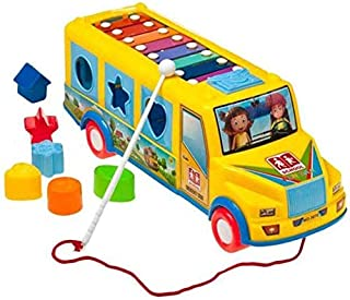 HALO NATION Music Maker Pull Along Truck Toy with Shape Sorter & Xylophone - Learning Shape Puzzle & Musical Bus Toy for Baby