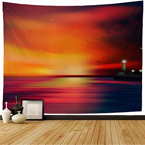Starochi Tapestry Wall Hanging Bay Sky Abstract Red Sunrise Ocean Blue Nobody Danger Sun Lighthouse Nature Design Sunset Atlantic Tapestry Decor Living Room Bedroom for Home 60x60 Inch