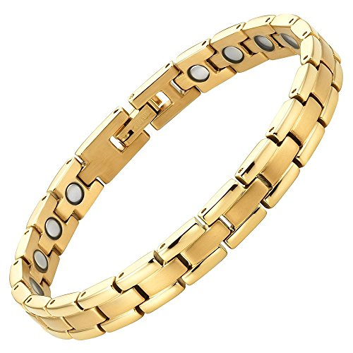 Womens Titanium Magnetic Therapy Bracelet for Arthritis Pain Relief Adjustable with gift box by Willis Judd