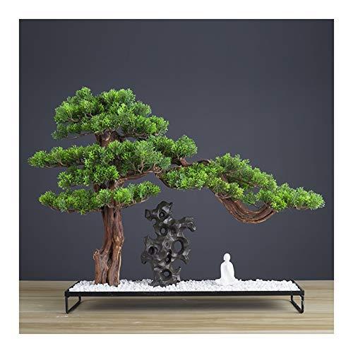 xiaokeai Faux Plants Artificial Bonsai Juniper Tree Rockery Plant Bonsai Indoor Artificial Plants for Home Office Indoor Showcase Decor Artificial Bonsai (Color : B)
