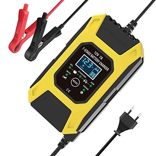 CUIJU Cargador de batería Cargador de batería automático para automóvil de 12 V Funciones de Mantenimiento y reparación para baterías de Plomo ácido (Amarillo)
